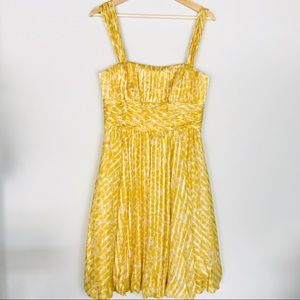 BCBG Silk Yellow Midi Cocktail Dress Size 8